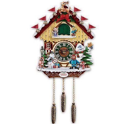 Rudolph The Red-Nosed Reindeer 50t Anniversary Cuckoo Clock by Bradford Exchange
