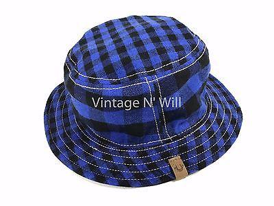 True Religion Jeans Boys Blue Buffalo Plaid Check/ Black Reversible Bucket Hat