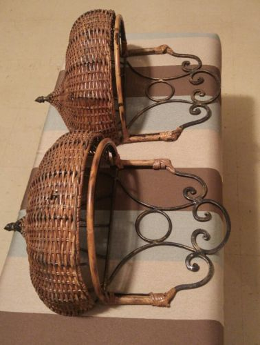 two (2) metal and wicker hanging baskets