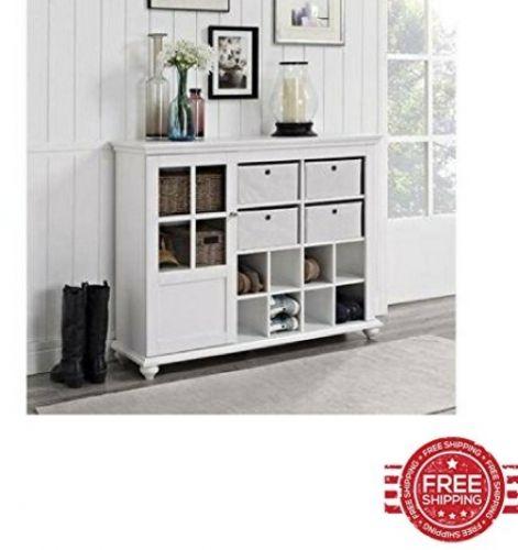 Storage Cabinet with Baskets White Kitchen Bathroom Door Home Living Furniture