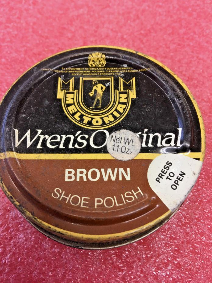 BS8 Vintage metal tin Wren's original shoe polish canister EMPTY