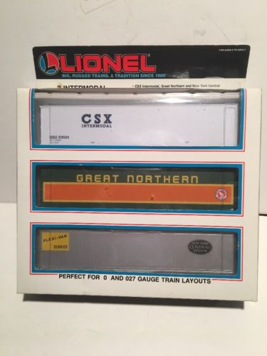 LIONEL O SCALE 3 INTERMODAL CONTAINERS (CSX - GREAT NORTHERN - New York Central)