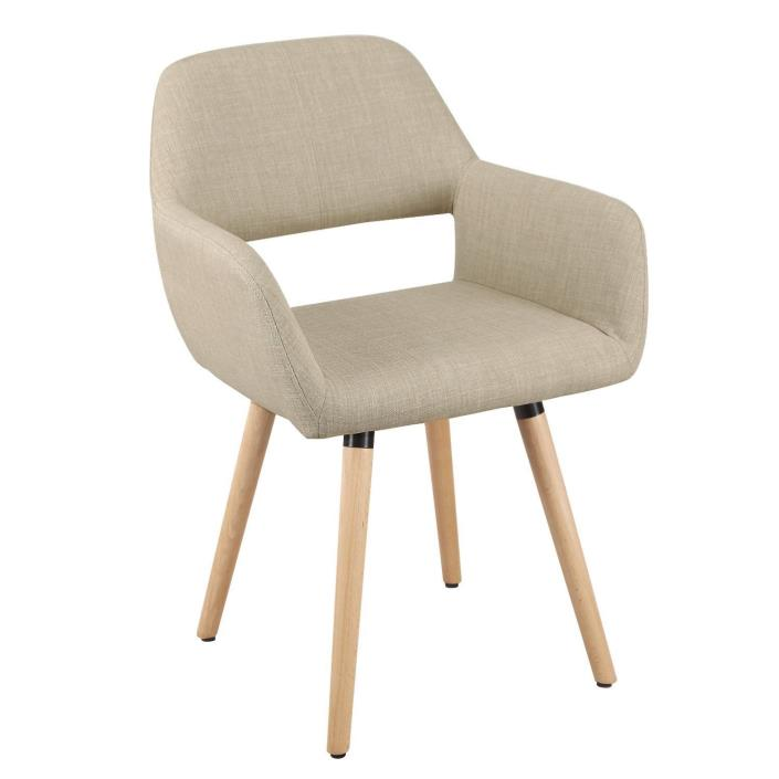 Mid-century Beige Fabric Accent Dining Chair Open Back Modern Design NEW