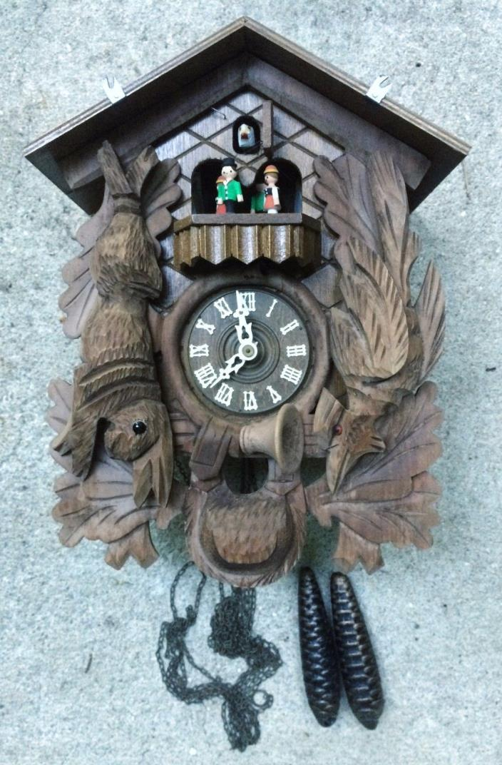Large German Hunter Cuckoo Clock with Music Dancers Happy Wanderer Incomplete
