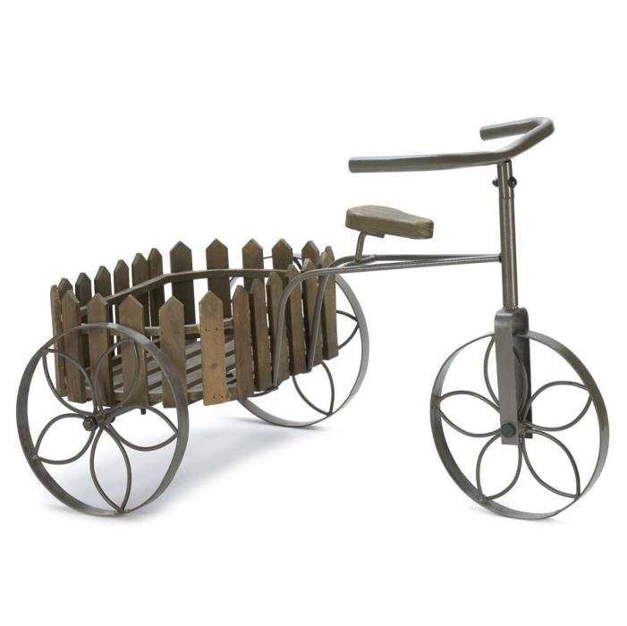 Bicycle Plant Stand On Wheels Round Wooden Picket Fence Basket Farmhouse Decor
