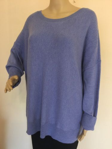 NEW! EILEEN FISHER  SZ 2X    Merino Wool BasketWeave Sweater Box Tunic Top BLue