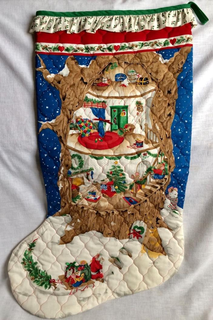 Large Christmas Stocking Mouse House in a Tree Quilted Holiday Xmas Decor