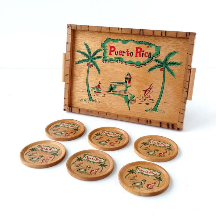 Vintage Wooden Serving Drink Tray & 6 Coasters Set Tiki Bar Puerto Rico Painted