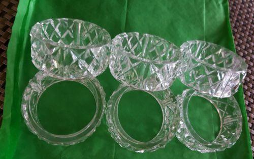 Vintage Retro Clear Plastic Napkin Ring Holders Diamond Set of 6