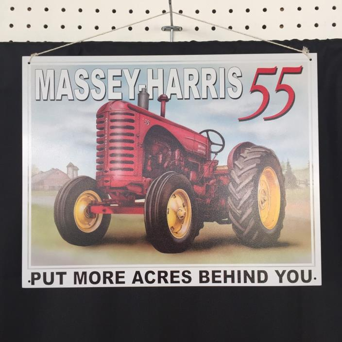 Lot of 3 John Deere Massey Harris Tractor Metal Signs Farm Garage Shop Decor