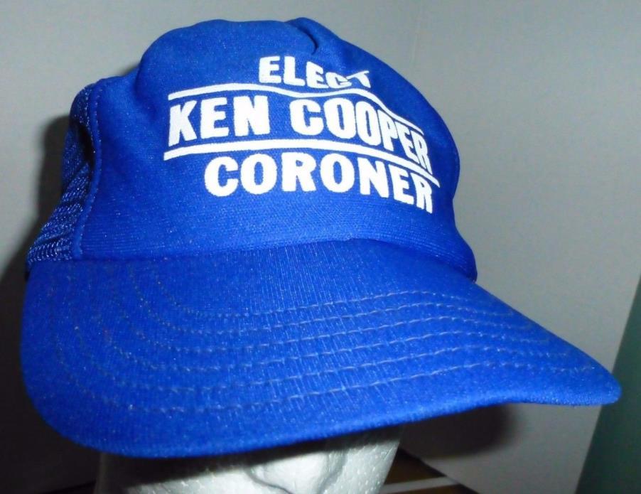 Elect Ken Cooper Coroner Trucker Hat Election Blue Snapback Cap One Size OSFA
