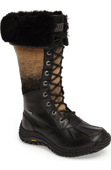UGG Australia Womens Adirondack Tall BLACK Snow Rain WP Boots