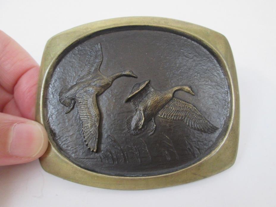 Vtg Steven L Knight Flying Ducks Wildlife Sculpture Artisan Bronze Belt Buckle