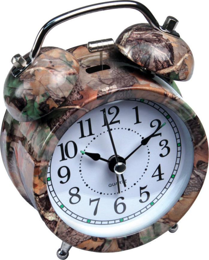 Camo Analog Alarm Clock ~ Twin Bell Quartz ~ Old Fashioned ~ New ~ Free Shipping