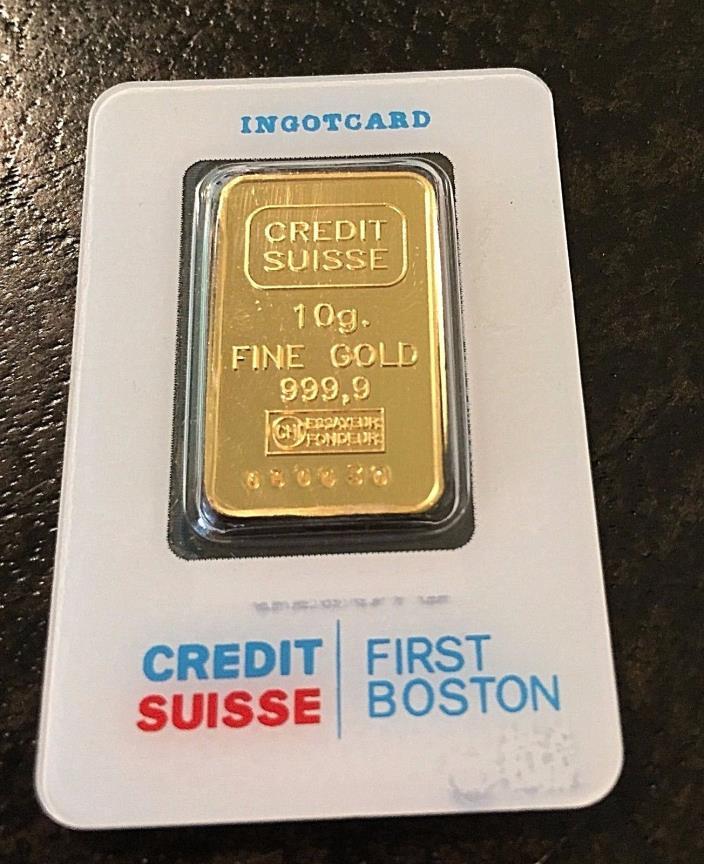 CREDIT SUISSE 10 GRAM 9999 GOLD BAR-INGOT,FIRST BOSTON-CERTIFIED
