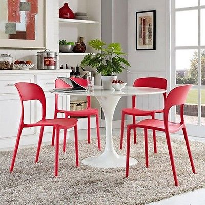 Modway EEI-2404-RED-SET Hop Dining Set Set of 4, Red NEW