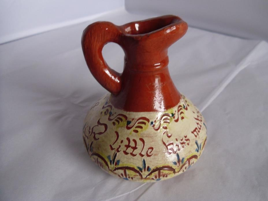 Weldon 1950 Pottery PA Redware  Mottoware Decorated Pitcher Vase