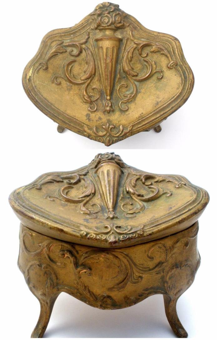 Art Nouveau Jewelry Casket Box Gold Raised Flower Vase Antique Burgundy Velvet