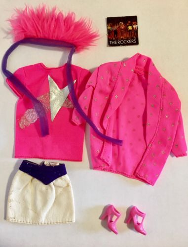 Barbie Fashion Rockers 80s Vintage Pink Purple Rock N Roll Outfit Set