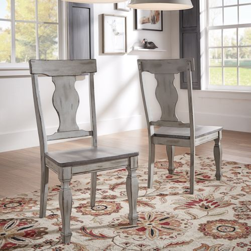 Eleanor Grey Two-Tone Square Turned Leg Wood Dining Chairs (Set Of 2) By HOME
