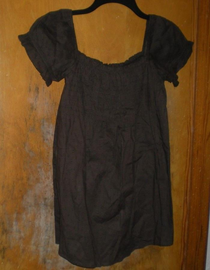 She's Cool Maternity Brown Dotted Swiss Top with Short Sleeves Size Medium