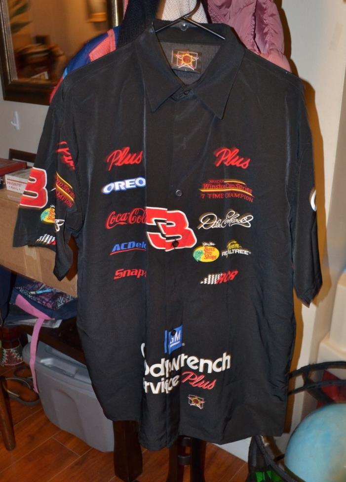 Men's JH Designs Dale Earnhardt Jr NASCAR BUTTON UP SHIRT SHORT SLEEVE  SIZE L