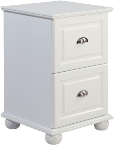 Two Drawer White Storage Cabinet