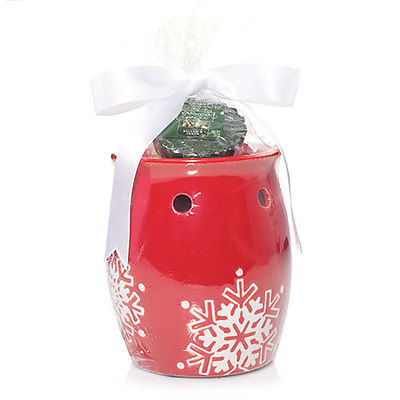 NEW!~YANKEE CANDLE~Red Snowflake Tart Wax Warmer/Burner Gift Set~Christmas