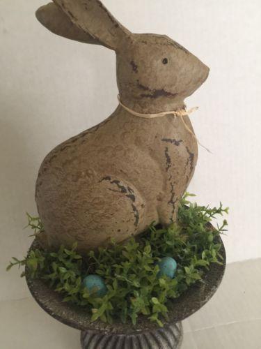 Farmhouse Spring Easter Rabbit Metal Robin Eggs Table Centerpiece Custom