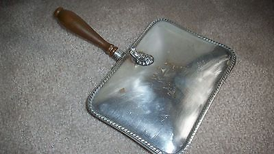 Vintage Crumb Catcher Silver Plate Wood Decoration W/ Zebra Crest Victorian?