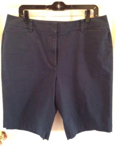Talbots Navy Blue Chino Bermuda Shorts Size 16