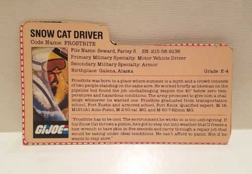 GI Joe Frostbite File Card Hasbro ARAH Snow Cat Vehicle Driver Accessories 1985
