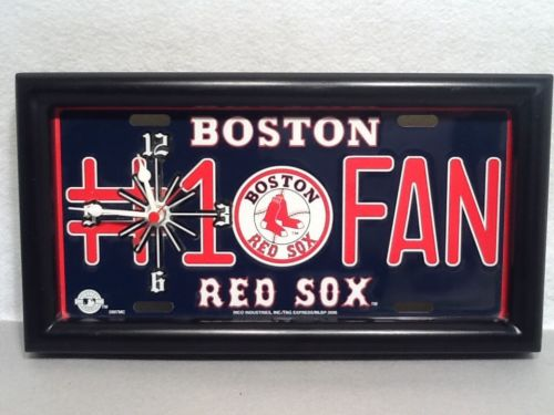 Navy MLB Boston Red Sox #1 Fan Baseball Team License Plate Wall Clock Bxsw1