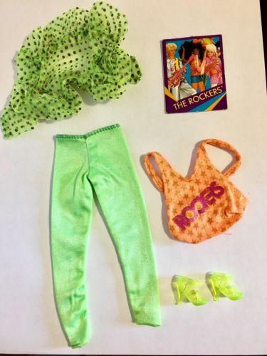 Barbie Fashion Rockers 80s Vintage Green Orange Rock N Roll Outfit Set