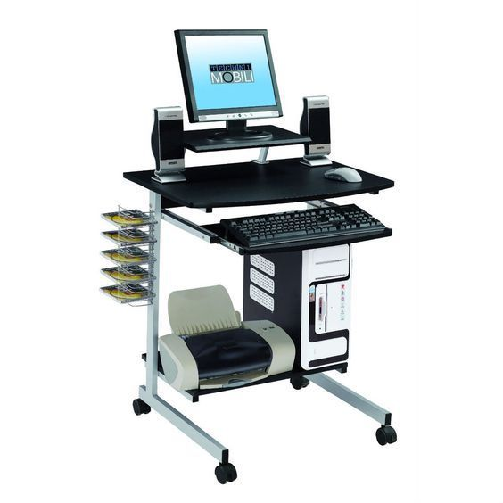 Mobile Compact Computer Cart Desk with Keyboard Tray Steel with Coated Frame