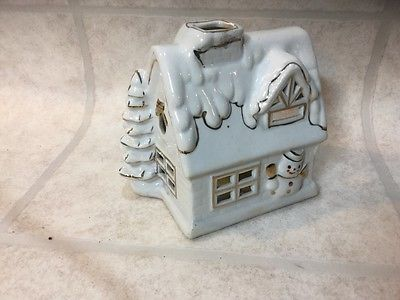 VINTAGE WHITE CHRISTMAS HOUSE CERAMIC CANDLE HOLDER VOTIVE