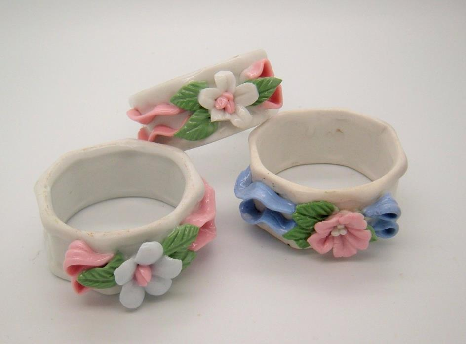 Pink Blue White Vintage Napkin Rings FLORAL shabby cottage wedding decor 3 pcs