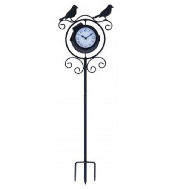Benzara Metal Clock Thermometer with Birds on Top - Great For Outdoors