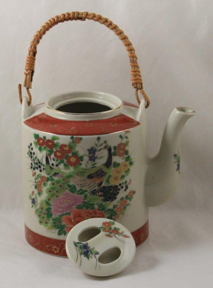 Teapot Satsuma Japan Peacock Bamboo Handle Gold Designs Vintage Hand Painted