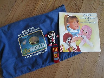 MCDONALD'S RONALD MCDONALD BOOK, CANVAS ZIP EXPAND YOUR INVESTMENT HORIZONS BAG