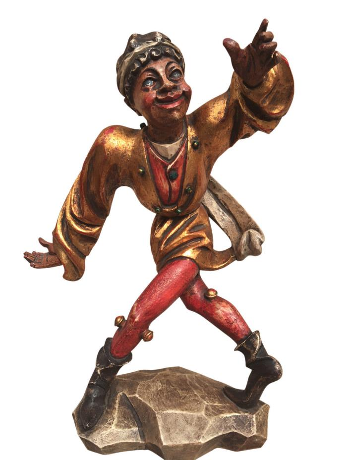 Antique Whimsical Painted Wooden Statue of Blackamoor with Wall Shelf