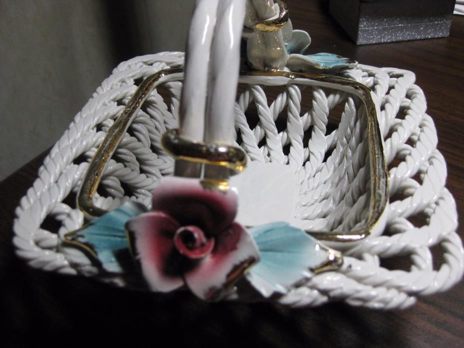Vintage Handmade SPAIN Basket Weave Pottery Ceramic Basket Delicate Flowers