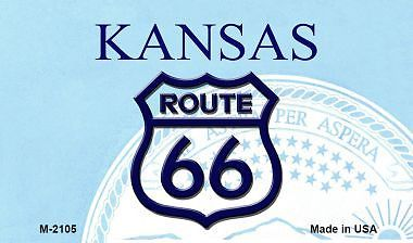Route 66 On Kansas Background Novelty Metal Magnet Metal Mini License Plate