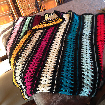 Handmade Crocheted knit Afgan Bedspread Throw Multi-color
