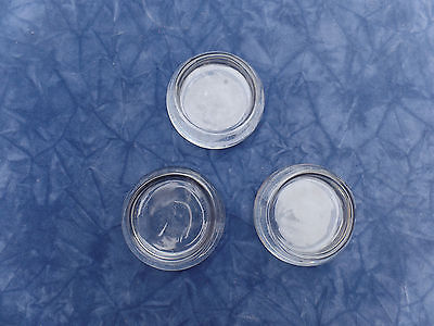 3 VINTAGE LARGE CLEAR THICK GLASS FURNITURE COASTER FLOOR PROTECTOR CASTER CUPS