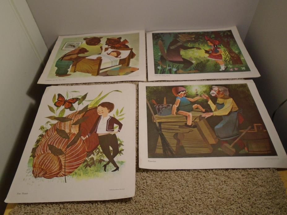 4 VINTAGE PRINTS 1959 PENN PRINTS Nursery Rhyme 16