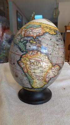 """Old World Globe Ceramic / Ostrich Egg On Wooden Base Egg is about 7"""" Tall"""