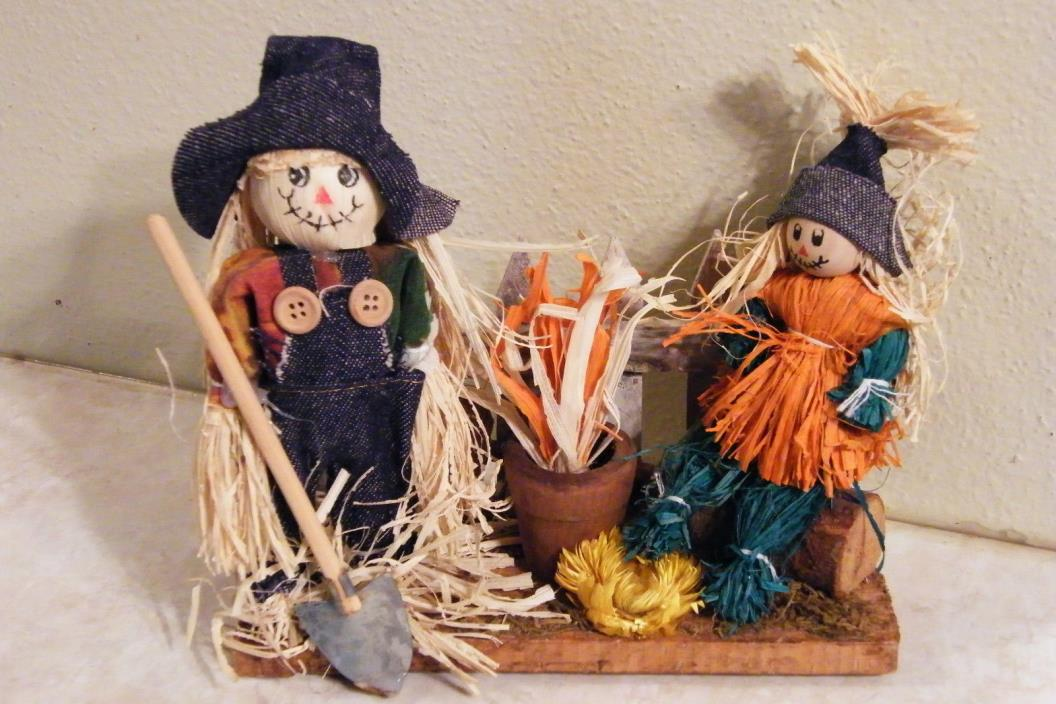 Scarecrow Couple Doll Figurines Table Centerpiece Home Decor FOLK ART