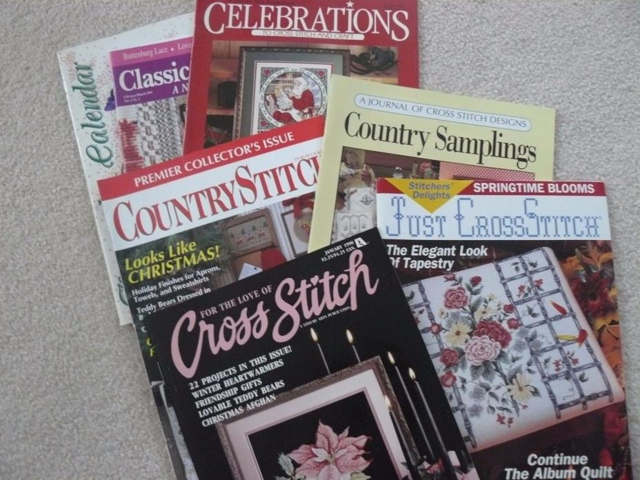 Cross stitch magazines (six)  1990 , 1991