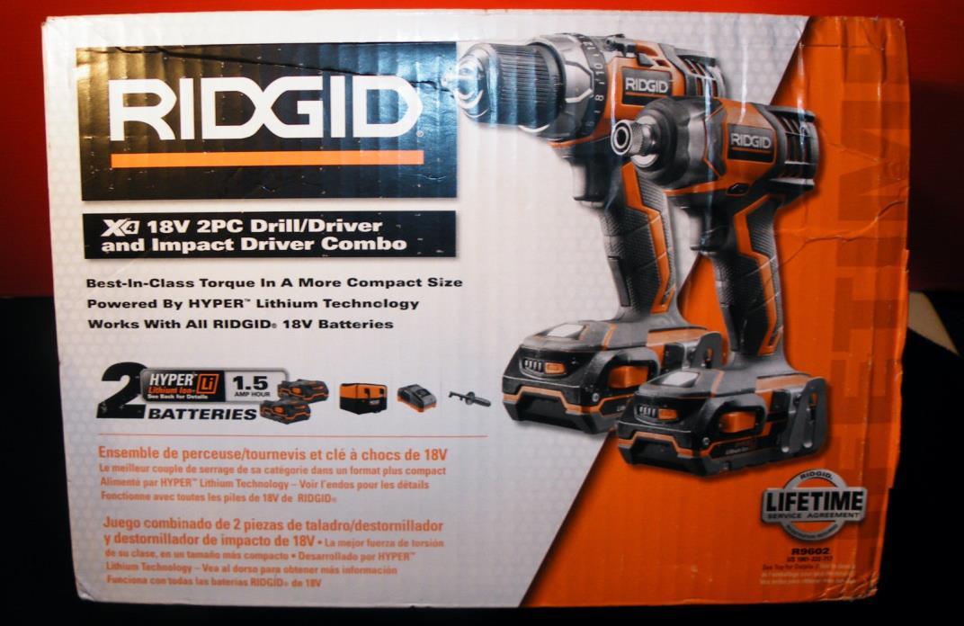 RIGID R9602 18V LiION CORDLESS DRILL DRIVER/  IMPACT DRIVER COMBO NEW